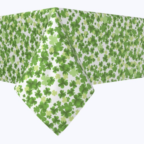 """Rectangular Tablecloth, 100% Polyester, 60x120"""", St. Patrick's Day Puzzle Pieces Perspective: front"""