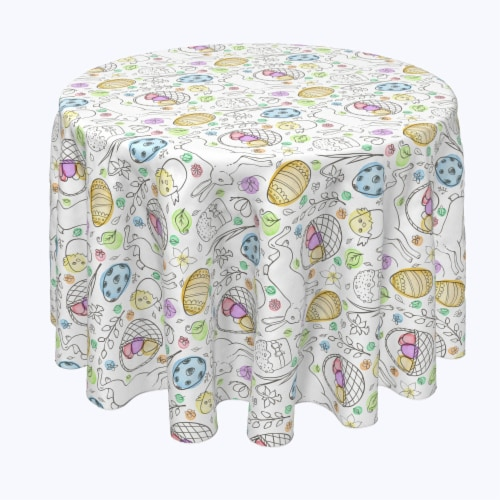 """Round Tablecloth, 100% Polyester, 84"""" Round, Chicken Hatch Fun Perspective: front"""