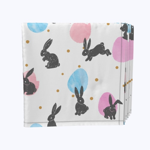 """Napkin Set, 100% Polyester, Set of 12, 18x18"""", Energizer Bunnies and Eggs Perspective: front"""