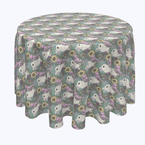 """Round Tablecloth, 100% Polyester, 70"""" Round, Hand Drawn Flowers and Rabbits Perspective: front"""
