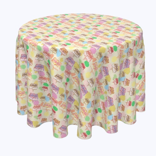 """Round Tablecloth, 100% Polyester, 108"""" Round, Happy Easter Retro Cake Perspective: front"""