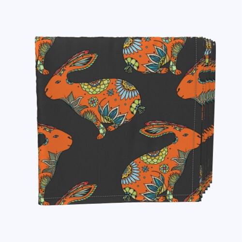 "Napkin Set, 100% Polyester, Set of 12, 18x18"", Orange Chill Rabbit Perspective: front"