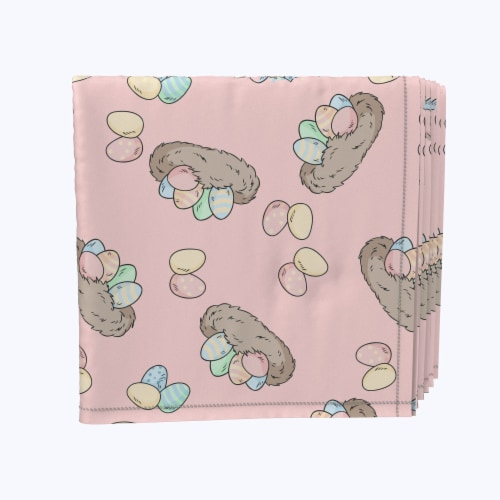 """Napkin Set, 100% Polyester, Set of 12, 18x18"""", Pretty Pastel Egg Nests Perspective: front"""