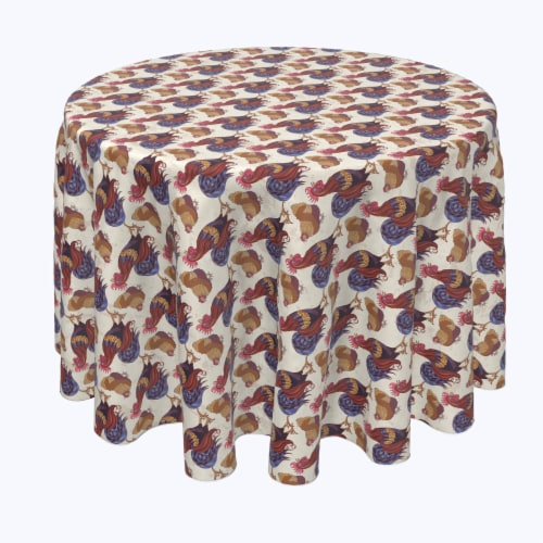 """Round Tablecloth, 100% Polyester, 108"""" Round, Rooster and Chicken Friends Perspective: front"""