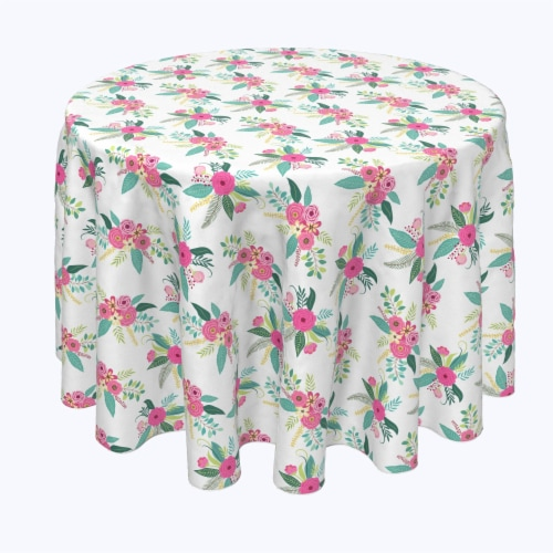 """Round Tablecloth, 100% Polyester, 70"""" Round, Rustic Floral Arrangement Perspective: front"""