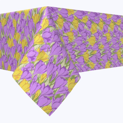 """Rectangular Tablecloth, 100% Polyester, 60x120"""", Violet and Yellow Love Flowers Perspective: front"""