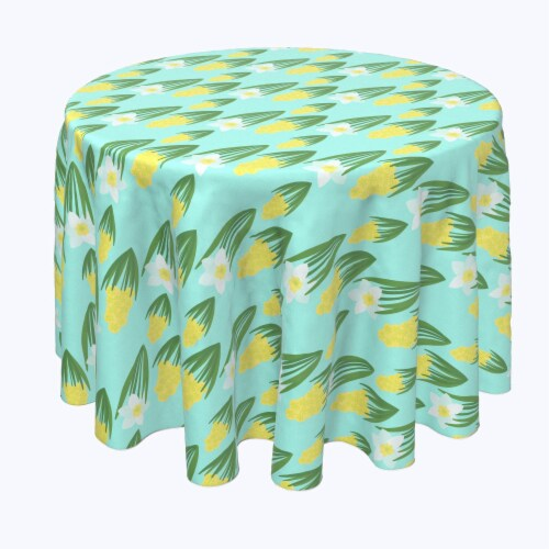"""Round Tablecloth, 100% Polyester, 102"""" Round, White Daffodils and Yellow Hyacinths Perspective: front"""