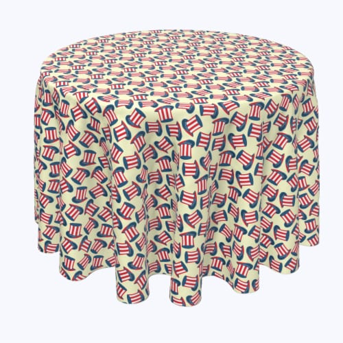 """Round Tablecloth, 100% Polyester, 120"""" Round, 4th Hats of Celebration Perspective: front"""