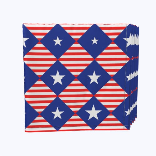 """Napkin Set, 100% Polyester, Set of 12, 18x18"""", Blue Diamonds in Red Stripes Perspective: front"""