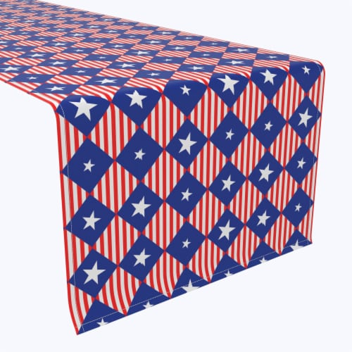 """Table Runner, 100% Polyester, 14x108"""", Blue Diamonds in Red Stripes Perspective: front"""