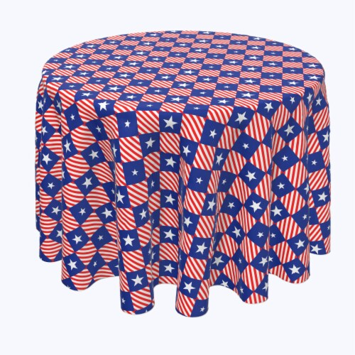 """Round Tablecloth, 100% Polyester, 108"""" Round, Blue Diamonds in Red Stripes Perspective: front"""