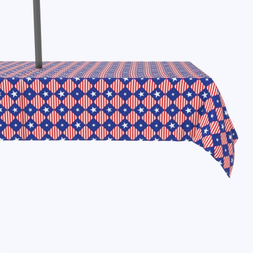"""Water Repellent, Outdoor, 100% Polyester, 60x84"""", Blue Diamonds in Red Stripes Perspective: front"""