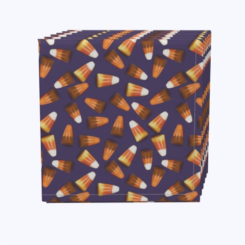 "Napkin Set, 100% Polyester, Set of 12, 18x18"", 3D Candy Corn Perspective: front"