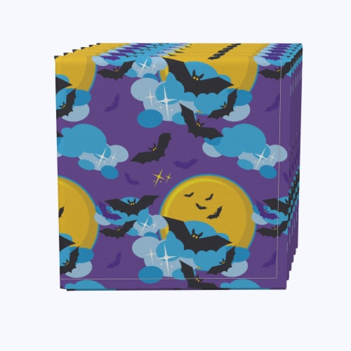 """Napkin Set, 100% Polyester, Set of 12, 18x18"""", BatMoon Night Perspective: front"""