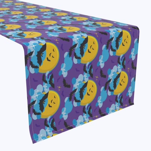 "Table Runner, 100% Polyester, 12x72"", BatMoon Night Perspective: front"