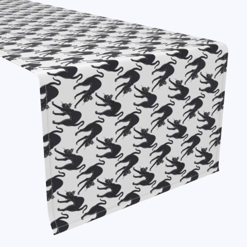 "Table Runner, 100% Polyester, 14x108"", Black Scaredy Cats Perspective: front"