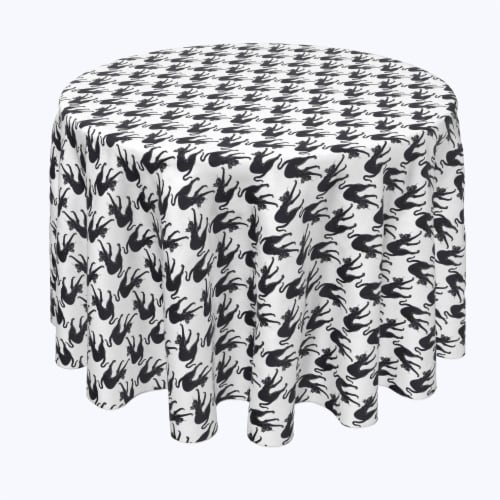 """Round Tablecloth, 100% Polyester, 108"""" Round, Black Scaredy Cats Perspective: front"""