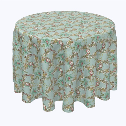 """Round Tablecloth, 100% Polyester, 96"""" Round, Botanical Sketch Garland Perspective: front"""