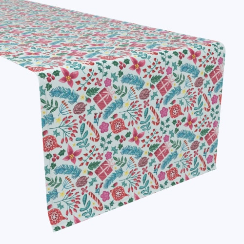 """Table Runner, 100% Polyester, 14x108"""", Christmas Candy Cane Celebration Perspective: front"""