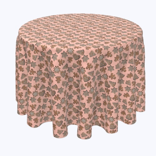 """Round Tablecloth, 100% Polyester, 60"""" Round, Christmas Gingerbread Cookies Perspective: front"""