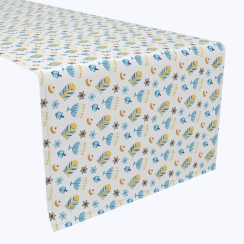 "Table Runner, 100% Polyester, 12x72"", Cute Menorahs and Stars Perspective: front"