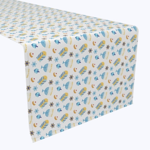 "Table Runner, 100% Polyester, 14x108"", Cute Menorahs and Stars Perspective: front"