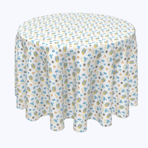 "Round Tablecloth, 100% Polyester, 60"" Round, Cute Menorahs and Stars Perspective: front"