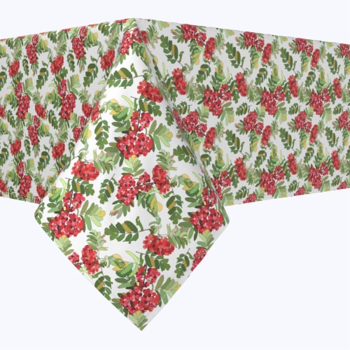 """Square Tablecloth, 100% Polyester, 54x54"""", Decorative Red Berries Perspective: front"""