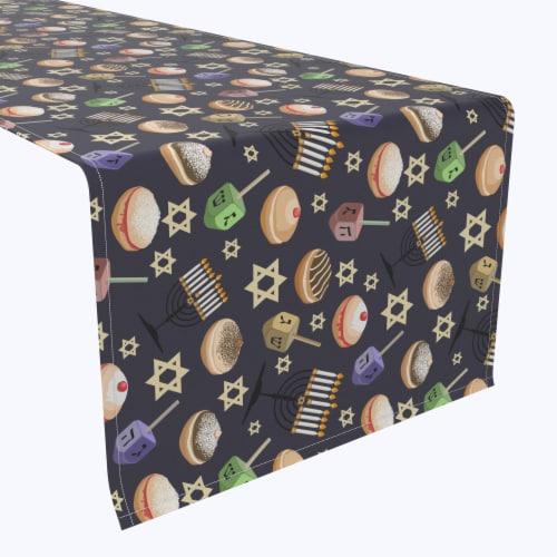 "Table Runner, 100% Polyester, 12x72"", Dreidel Delightfulness Perspective: front"