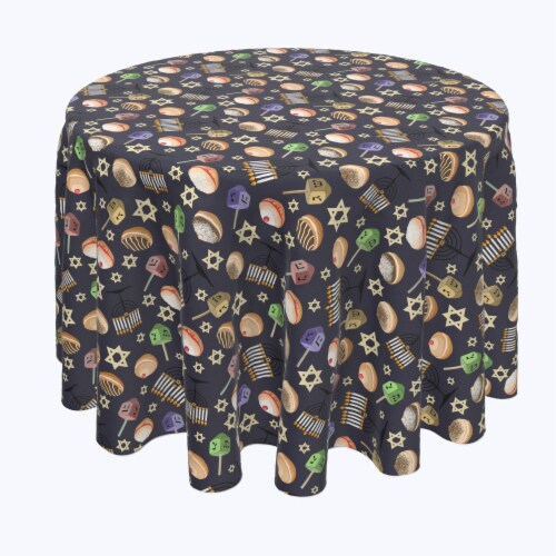 "Round Tablecloth, 100% Polyester, 60"" Round, Dreidel Delightfulness Perspective: front"