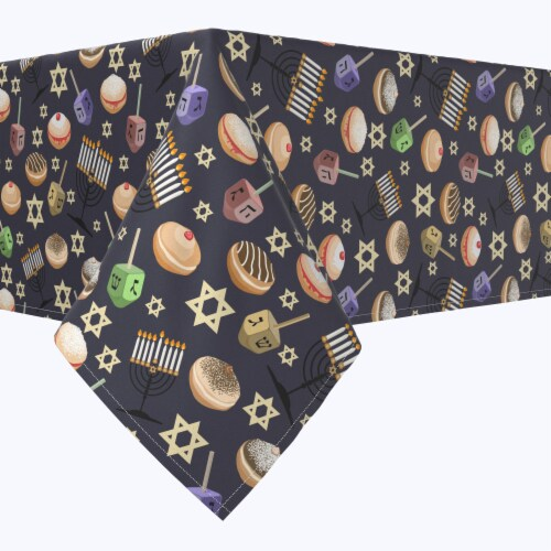 "Rectangular Tablecloth, 100% Polyester, 60x84"", Dreidel Delightfulness Perspective: front"