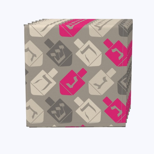 """Napkin Set, 100% Polyester, Set of 12, 18x18"""", Dreidel Wrapping Wallpaper Perspective: front"""