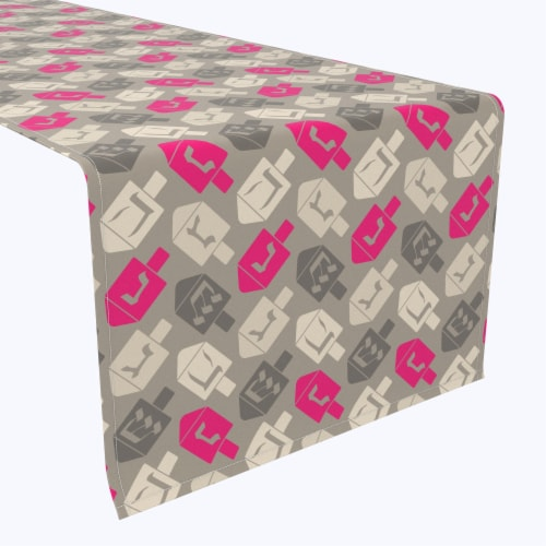 """Table Runner, 100% Polyester, 14x108"""", Dreidel Wrapping Wallpaper Perspective: front"""