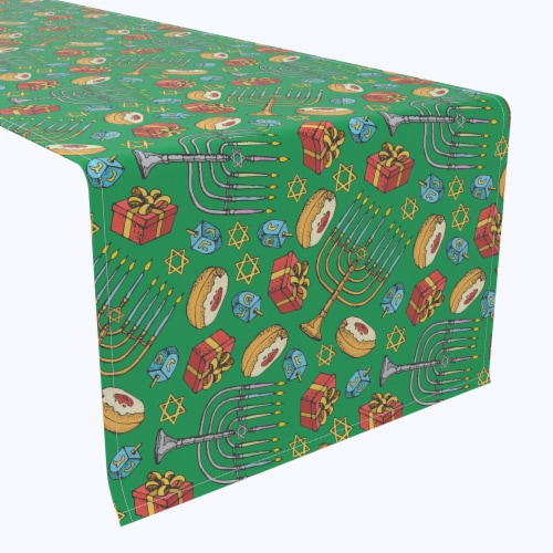 "Table Runner, 100% Polyester, 12x72"", Dreidels, Donuts and Decorations Perspective: front"