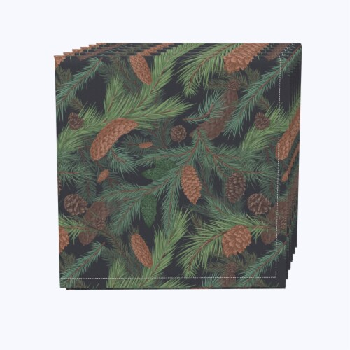 "Napkin Set, 100% Polyester, Set of 12, 18x18"", Fir Branches and Green Pines Perspective: front"