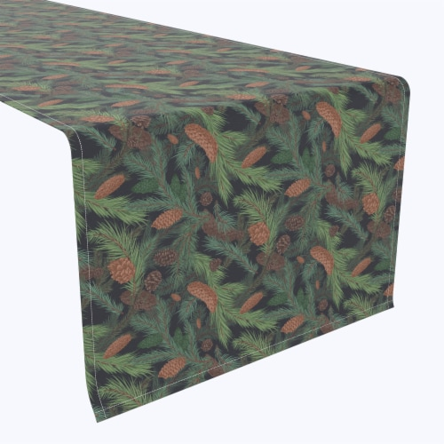 "Table Runner, 100% Polyester, 14x108"", Fir Branches and Green Pines Perspective: front"