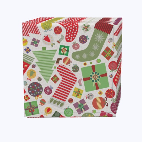 "Napkin Set, 100% Polyester, Set of 12, 18x18"", Fun Stockings and Essentials Perspective: front"