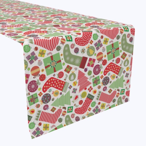"Table Runner, 100% Polyester, 14x108"", Fun Stockings and Essentials Perspective: front"