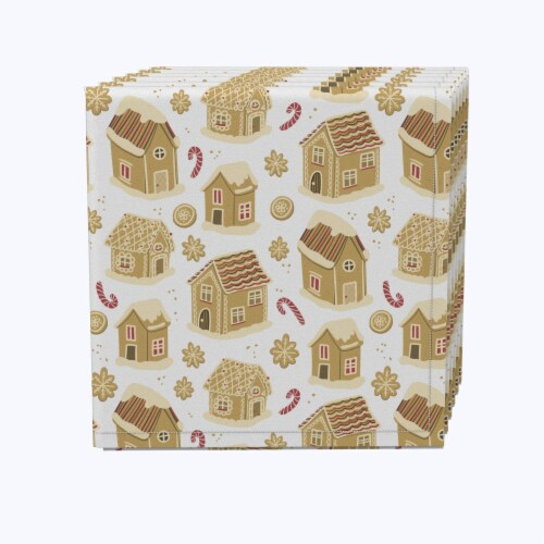"Napkin Set, 100% Polyester, Set of 12, 18x18"", Gingerbread Cookie Houses Perspective: front"