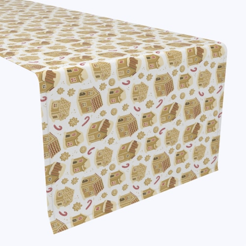 "Table Runner, 100% Polyester, 14x108"", Gingerbread Cookie Houses Perspective: front"