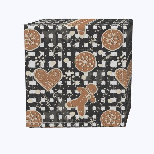 "Napkin Set, 100% Polyester, Set of 12, 18x18"", Gingerbread Plaid Perspective: front"