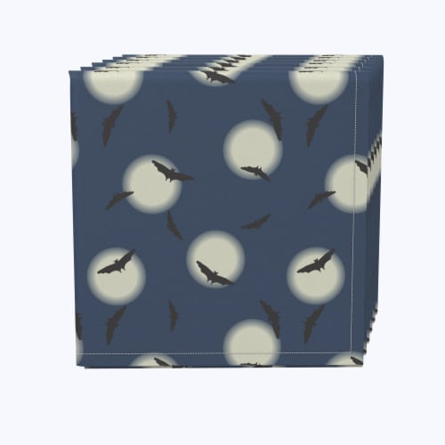 """Napkin Set, 100% Polyester, Set of 12, 18x18"""", Gothem Bats in Sky Perspective: front"""