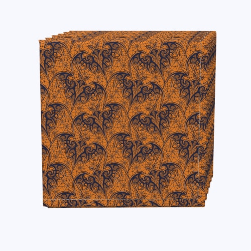 "Napkin Set, 100% Polyester, Set of 12, 18x18"", Halloween Bat Lace Perspective: front"