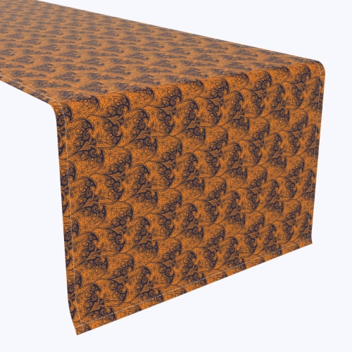 "Table Runner, 100% Polyester, 14x108"", Halloween Bat Lace Perspective: front"
