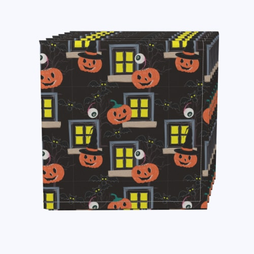 "Napkin Set, 100% Polyester, Set of 12, 18x18"", Halloween House Scare Perspective: front"