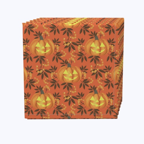 """Napkin Set, 100% Polyester, Set of 12, 18x18"""", Halloween in Autumn Perspective: front"""