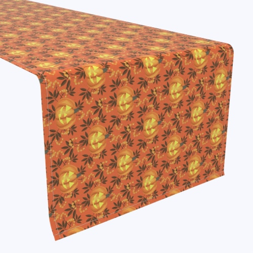 "Table Runner, 100% Polyester, 14x108"", Halloween in Autumn Perspective: front"