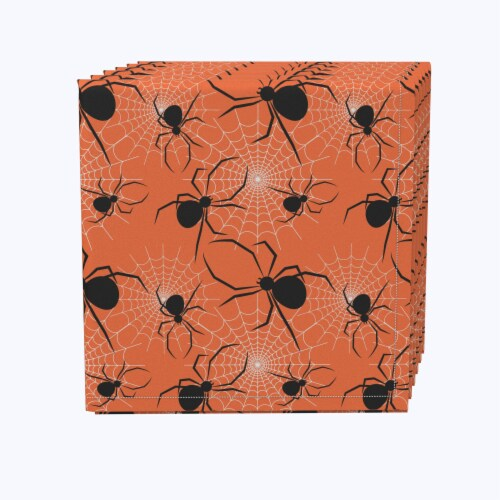 "Napkin Set, 100% Polyester, Set of 12, 18x18"", Halloween Spiders Web Perspective: front"