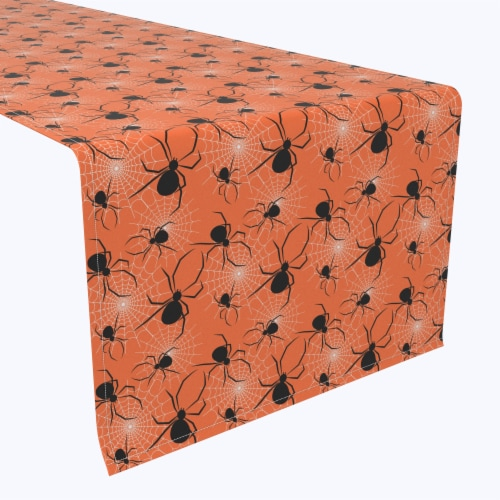 """Table Runner, 100% Polyester, 14x108"""", Halloween Spiders Web Perspective: front"""
