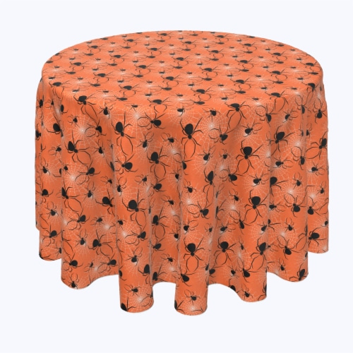 """Round Tablecloth, 100% Polyester, 84"""" Round, Halloween Spiders Web Perspective: front"""